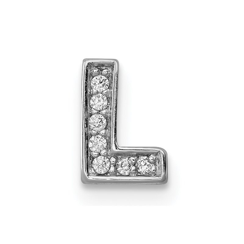 Quality Gold Sterling Silver Rhodium-plated CZ Letter L Initial Slide Charm