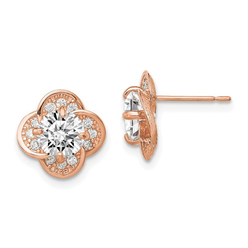 Quality Gold 10K Tiara Collection Rose Gold Polished CZ Post Earrings