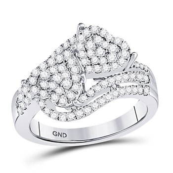 10kt White Gold Womens Round Diamond Double Heart Cluster Ring 1.00 Cttw