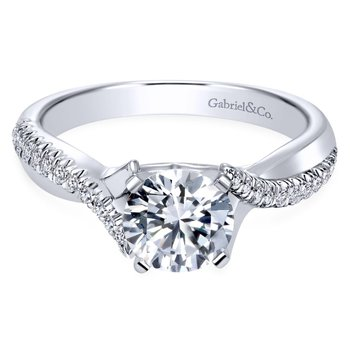 14k White Gold Diamond Pave Criss Cross Engagement Ring with Cathedral Setting