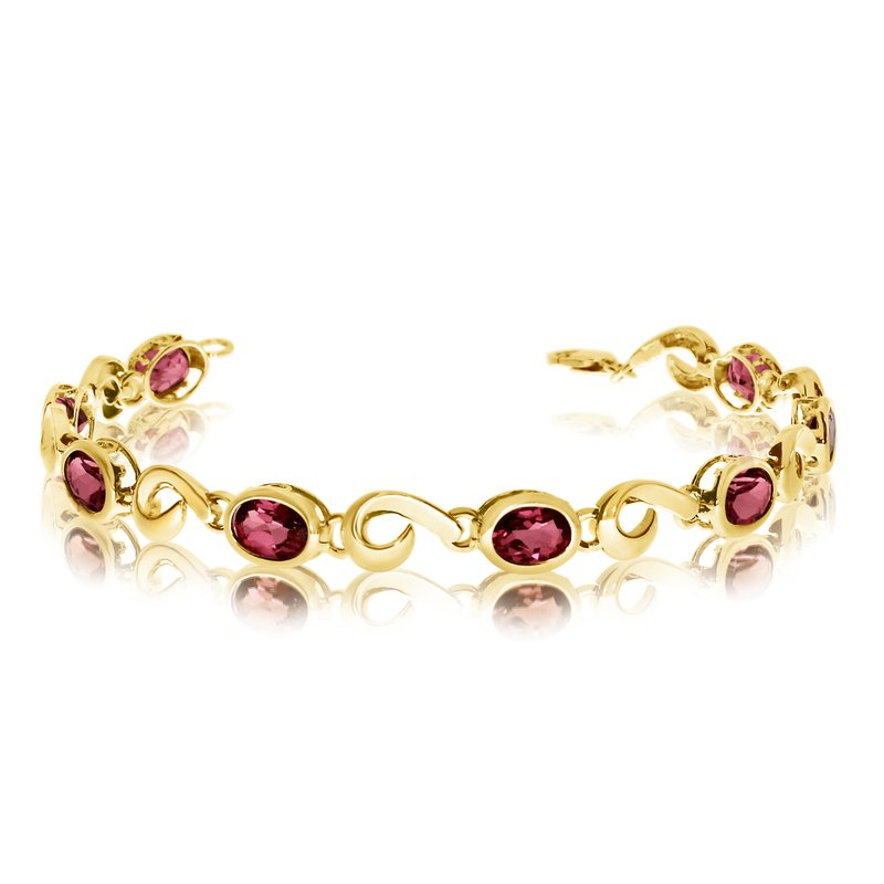 Color Merchants 14K Yellow Gold Oval Garnet Bracelet