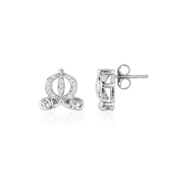 Sterling Silver 1/15CTW Cinderella Carriage Earring