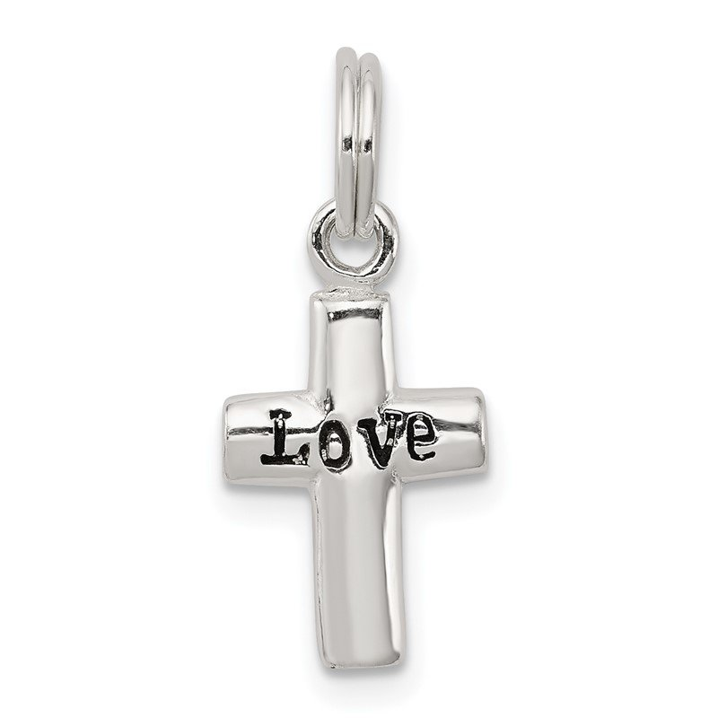 Quality Gold Sterling Silver LOVE Cross Pendant