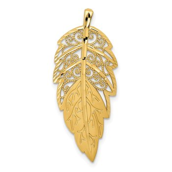 14k Yellow Gold Diamond Cut Leaf Chain Slide