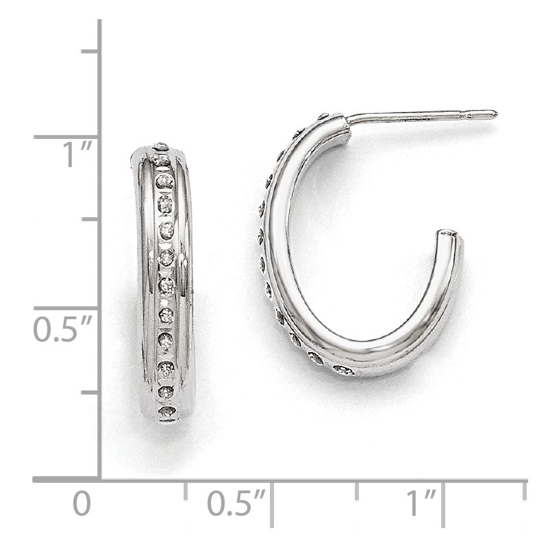 Quality Gold 14k White Gold Diamond Fascination Post J Hoop Earrings
