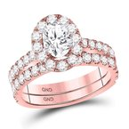 Gold-N-Diamonds 14kt Rose Gold Womens Oval Diamond Bridal Wedding Engagement Ring Band Set 1-7/8 Cttw