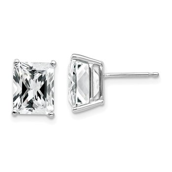 14k White Gold 9x7mm Emerald Cut Cubic Zirconia Earrings