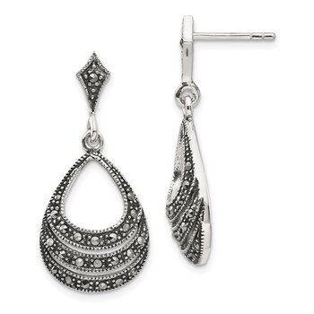 Sterling Silver Rhodium-plated Marcasite Teardrop Post Dangle Earrings