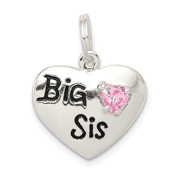 Sterling Silver Big Sis CZ Heart Charm