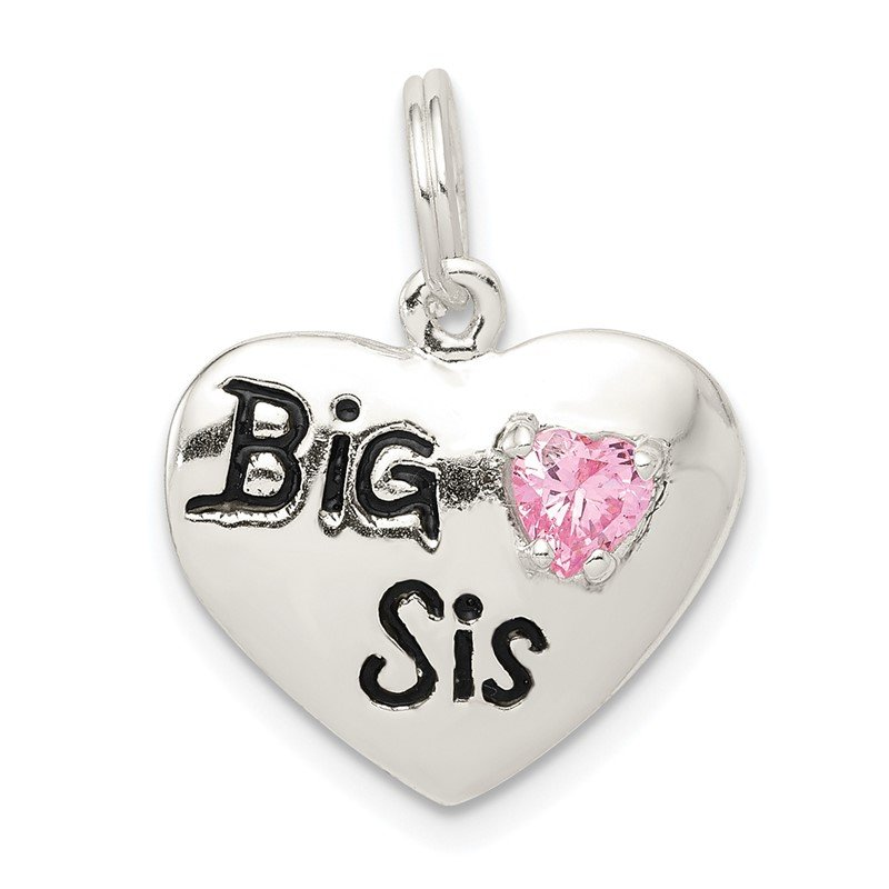 Quality Gold Sterling Silver Big Sis CZ Heart Charm