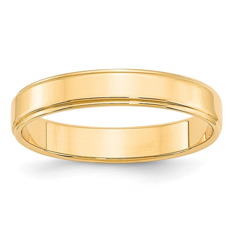 Quality Gold 14KY 4mm Flat with Step Edge Band Size 10