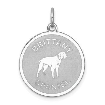 Sterling Silver Rhodium-plated Brittany Spaniel Disc Charm