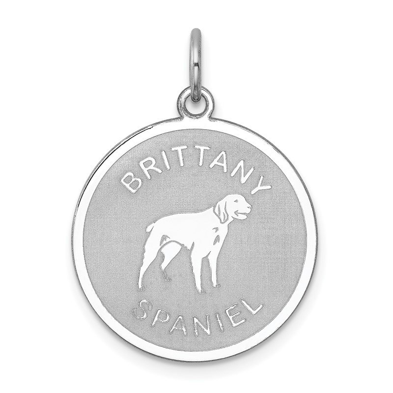 Quality Gold Sterling Silver Rhodium-plated Brittany Spaniel Disc Charm