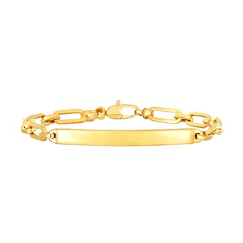 14K Gold Paperclip Chain ID Bracelet