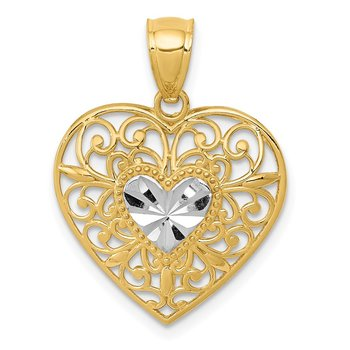 14K and White Rhodium Polished Diamond-cut Filigree Heart Pendant