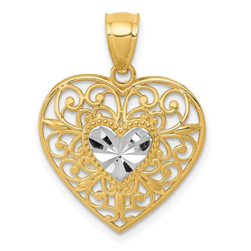 Quality Gold 14K and White Rhodium Polished Diamond-cut Filigree Heart Pendant