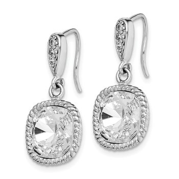 Sterling Silver Rhodium-plated Clear Cushion Crystal Dangle Earrings