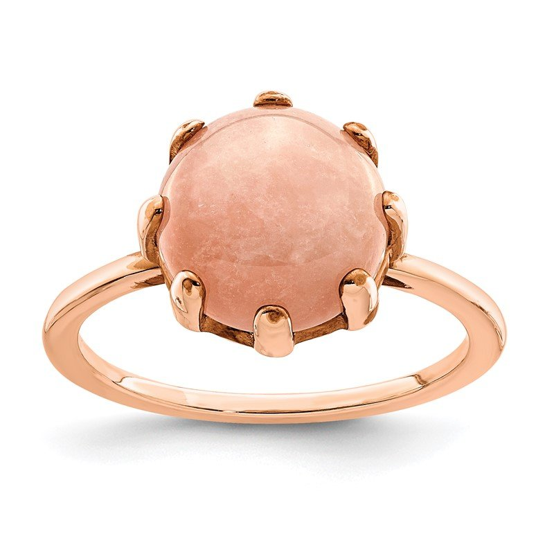 Quality Gold Sterling Silver Rose-tone and Pink Chalcedony Stone Ring