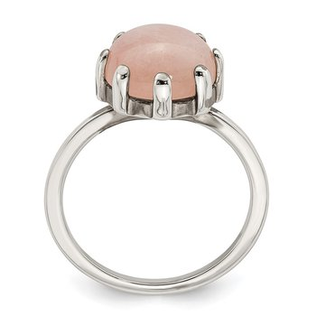 Sterling Silver Rose-tone and Pink Chalcedony Stone Ring