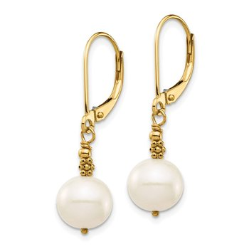 14k 8-9mm Near Round White FWC Pearl Leverback Earrings