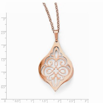 Leslie's Sterling Silver Rose Gold Plated Polished Necklace