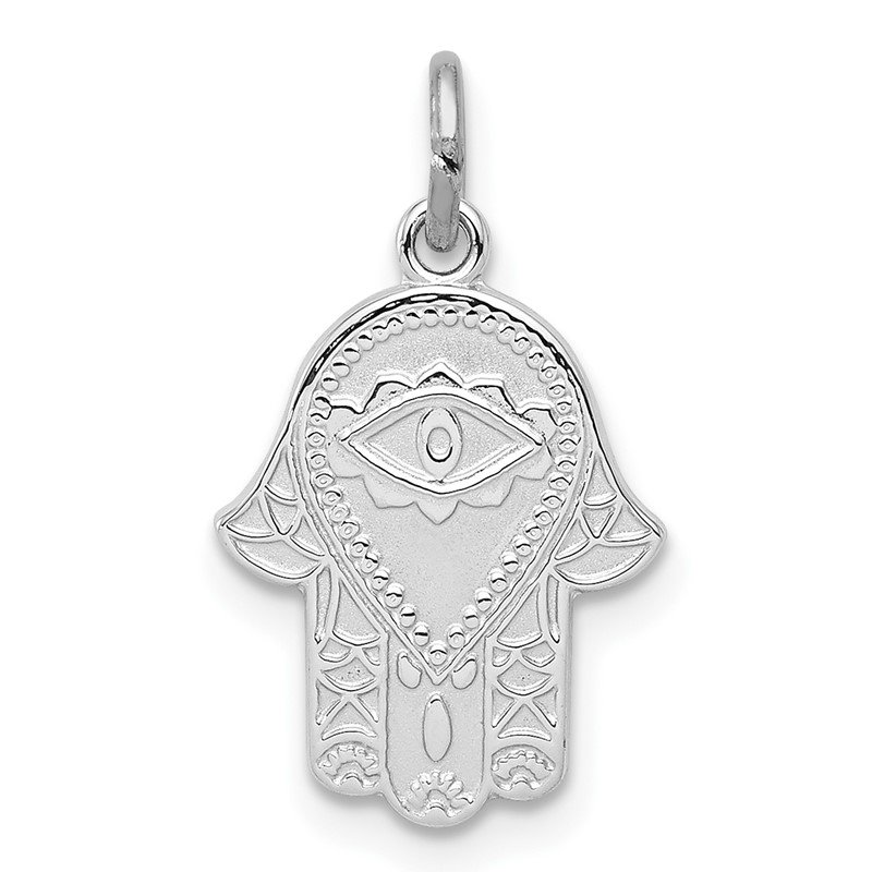 Sterling Silver Rhodium-plated Polished Chamseh/Hamsa Pendant