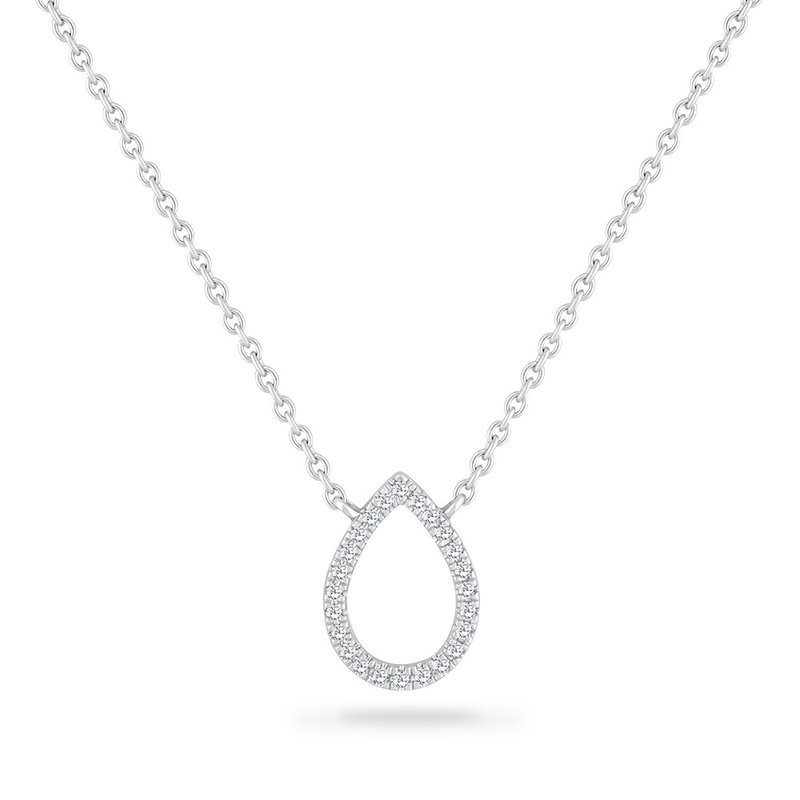Shula NY 14K PEAR SHAPE  NECKLACE WITH 26 DIAMONDS 0.09CT 18 INCHES LENGHT