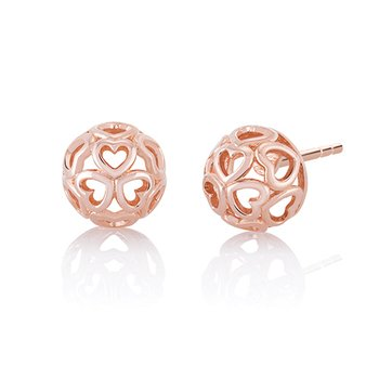 CHAMILIA BLUSH DELICATE HEART STUD EARRINGS