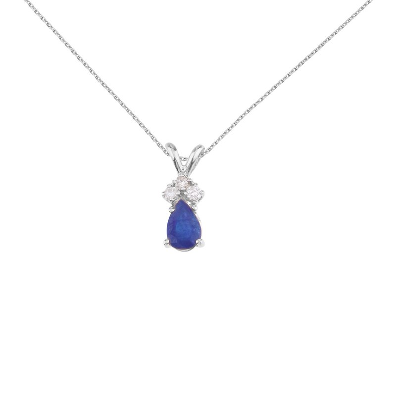 Color Merchants 14K White Gold Pear Shaped Sapphire Pendant with Diamonds