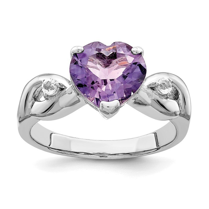 Quality Gold Sterling Silver Lavender Gemstone Heart Ring