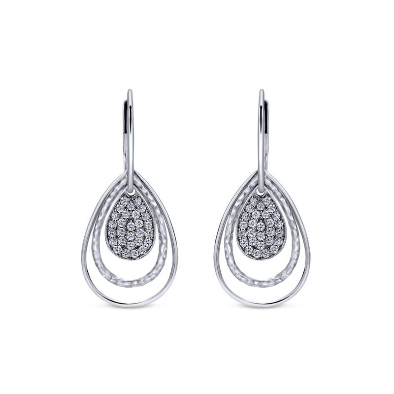 Gabriel Fashion 925 Silver White Sapphire Pendant Trio Earrings