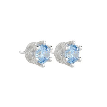 TIARA STUD EARRING - Brt SS, Swarovski 5mm Fancy Lt Blue Zirconia