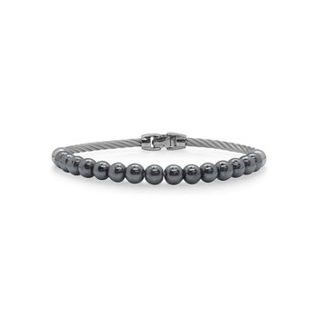 Single Row Grey Cable & Hematite Bracelet