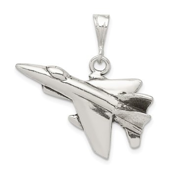 Sterling Silver Antiqued Jet Fighter Angled Pendant