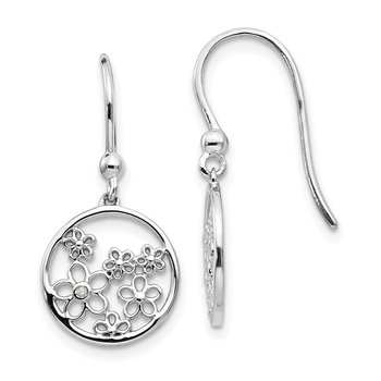 SS White Ice .01ct Diamond Flower Shepherd Hook Earrings