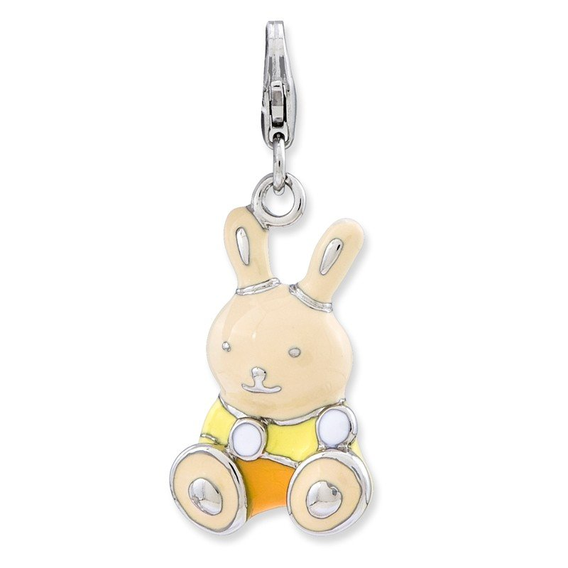 Quality Gold Sterling Silver RH Enameled 3-D Bunny w/Lobster Clasp Charm