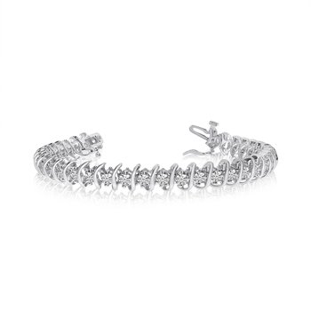 14k White Gold Rollover Diamond Tennis Bracelet