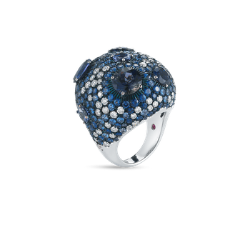 Cocktail Ring With Sapphires, Iolite And Diamonds