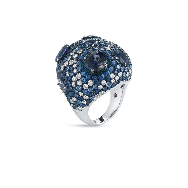 Roberto Coin Cocktail Ring With Sapphires, Iolite And Diamonds