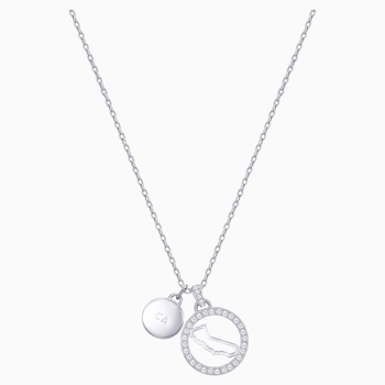 Lena California Pendant, White, Rhodium plating