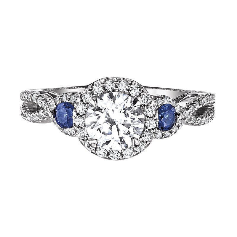 Love Story Sapphire Accent Engagement Ring by Love Story