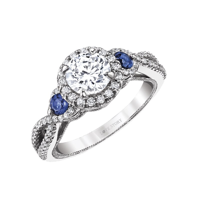 Sapphire Accent Engagement Ring by Love Story
