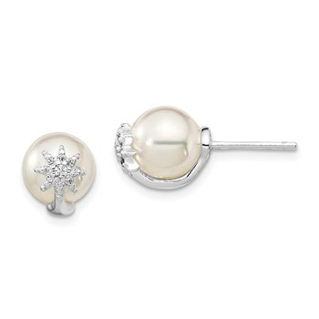 Sterling Silver Rh-pl Plated CZ and Imitation Shell Pearl Earrings