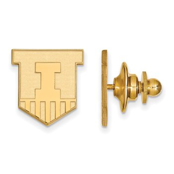 Gold-Plated Sterling Silver University of Illinois NCAA Lapel Pin