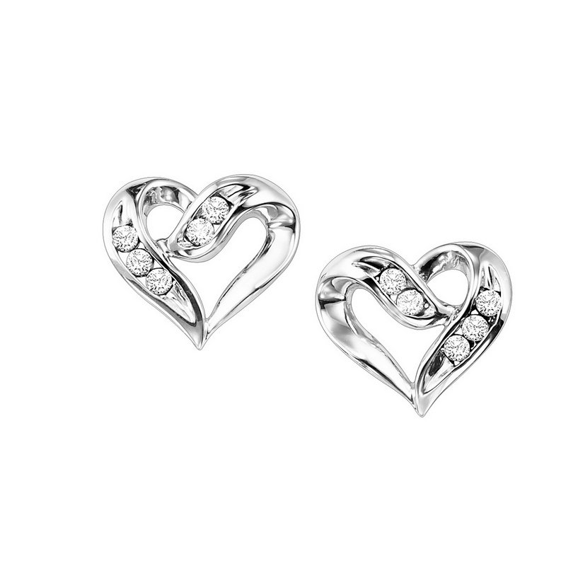 Gems One Diamond Open Ribbon Heart Stud Earrings in Sterling Silver