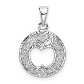 Sterling Silver Rhodium-plated Enamel Glitter Fabric Apple Cut-out Pendant