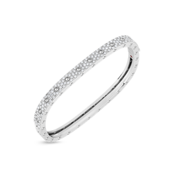 1 Row Square Bangle With Diamonds &Ndash; 18K White Gold, M