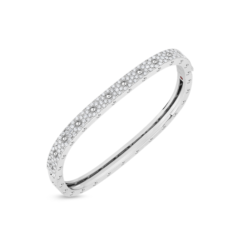 Roberto Coin 1 Row Square Bangle With Diamonds &Ndash; 18K White Gold, M