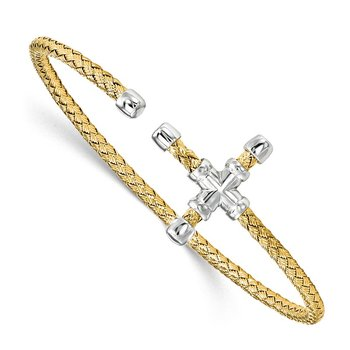 Leslie's Sterling Silver Gold-tone Polished Woven Cross Cuff Bangle