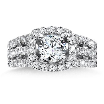 Diamond Halo Engagement Ring in 14K White Gold with Platinum Head (2ct. tw.)